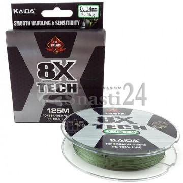 Шнур Kaida 8x Tech 125м 0.14мм
